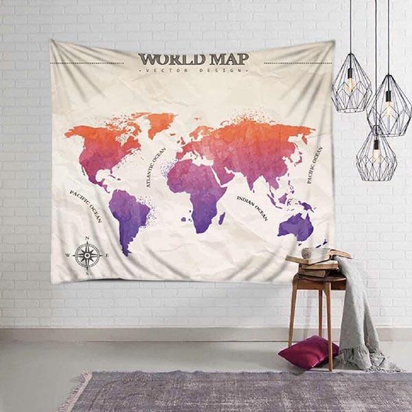 世界地圖時尚滌綸掛布