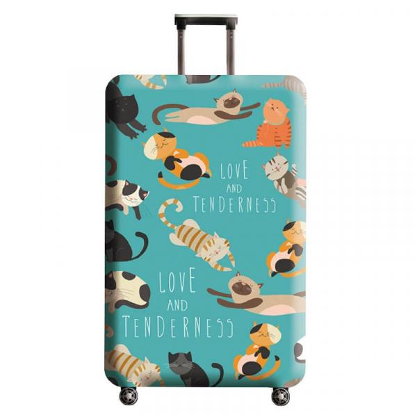 藍色貓咪行李箱套
